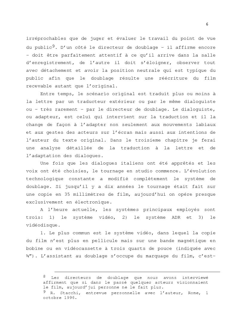 Anteprima della tesi: Le problème de la traduction dans le doublage cinématographique en Italie, Pagina 10