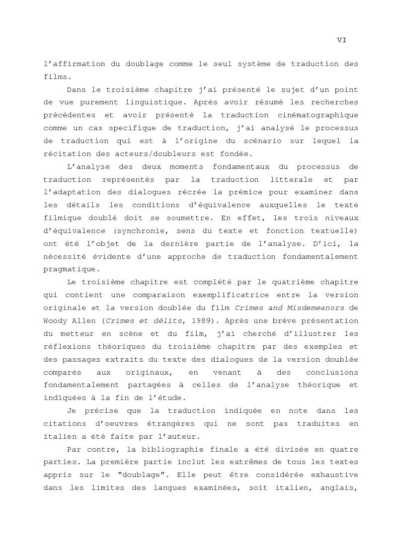 Anteprima della tesi: Le problème de la traduction dans le doublage cinématographique en Italie, Pagina 3