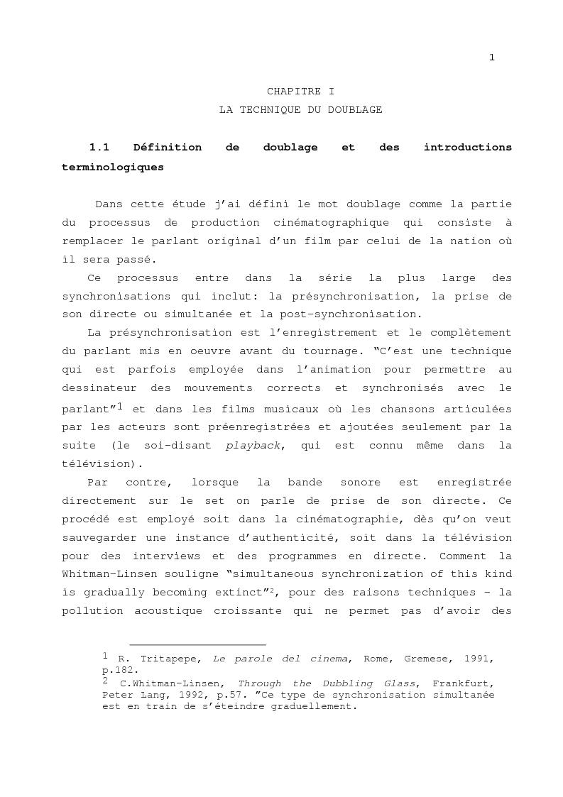 Anteprima della tesi: Le problème de la traduction dans le doublage cinématographique en Italie, Pagina 5