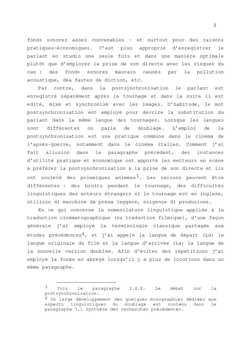 Anteprima della tesi: Le problème de la traduction dans le doublage cinématographique en Italie, Pagina 6