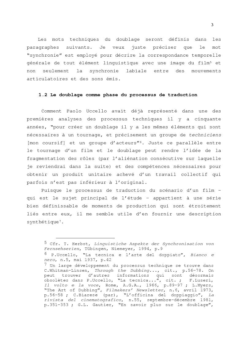 Anteprima della tesi: Le problème de la traduction dans le doublage cinématographique en Italie, Pagina 7