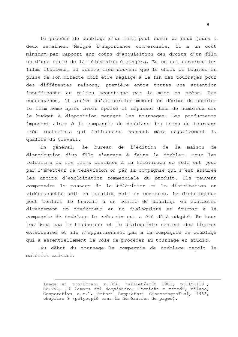 Anteprima della tesi: Le problème de la traduction dans le doublage cinématographique en Italie, Pagina 8