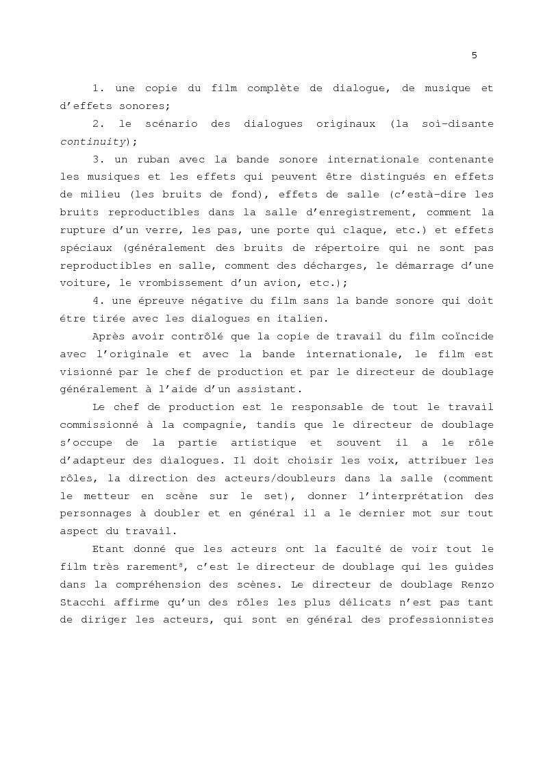 Anteprima della tesi: Le problème de la traduction dans le doublage cinématographique en Italie, Pagina 9