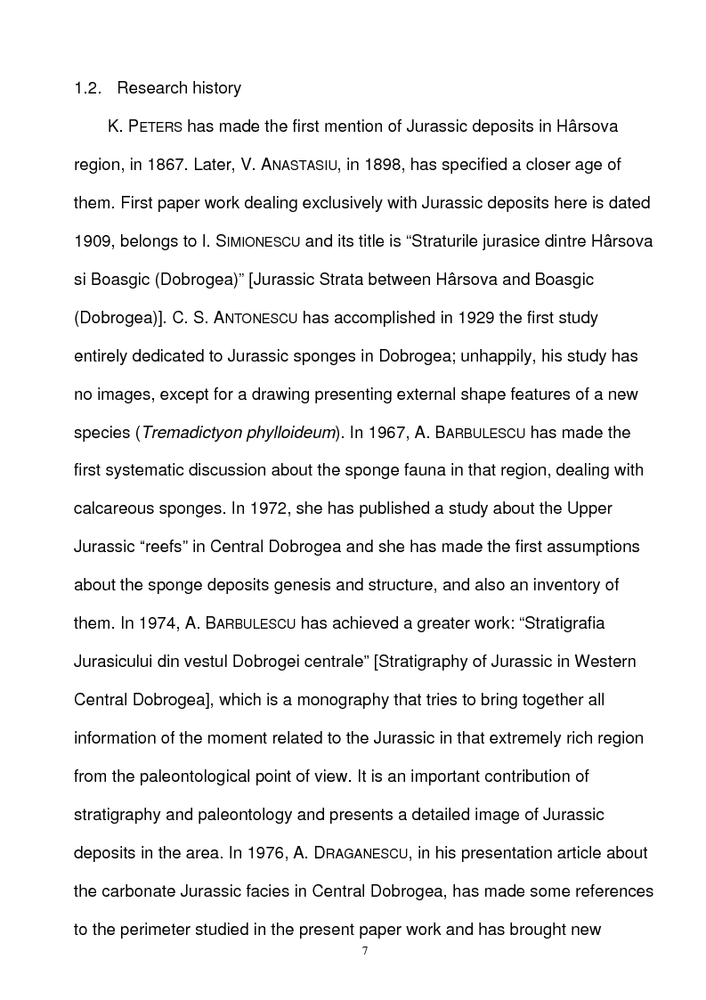 Anteprima della tesi: Paleoecology of Upper Jurassic Sponge Deposits in Western Central Dobrogea, Pagina 1
