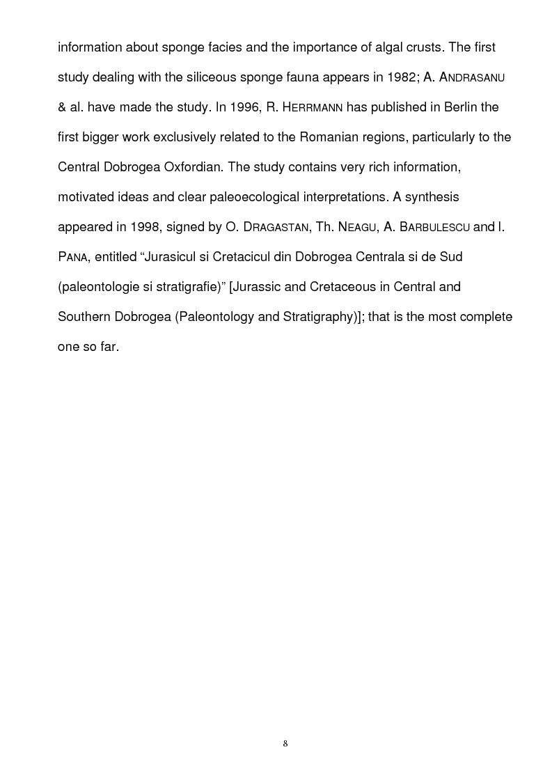 Anteprima della tesi: Paleoecology of Upper Jurassic Sponge Deposits in Western Central Dobrogea, Pagina 2
