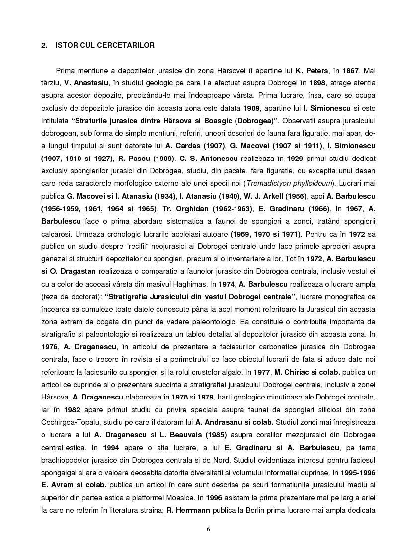 Anteprima della tesi: Faciesul cu spongieri din vestul Dobrogei centrale in Jurasicul superior - interpretari paleoecologice, Pagina 1