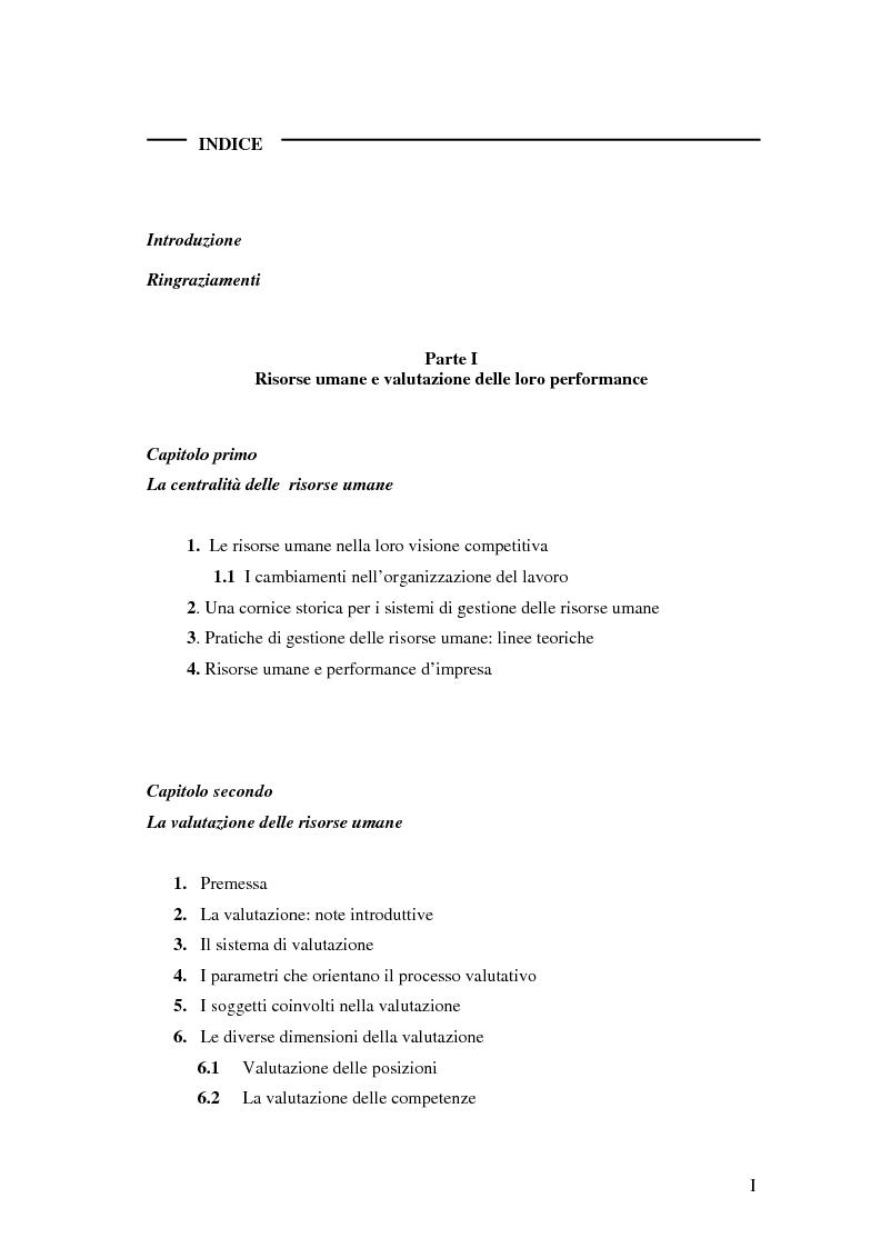 Indice della tesi: La valutazione delle performance delle risorse umane: il caso Indesit Company, Pagina 1
