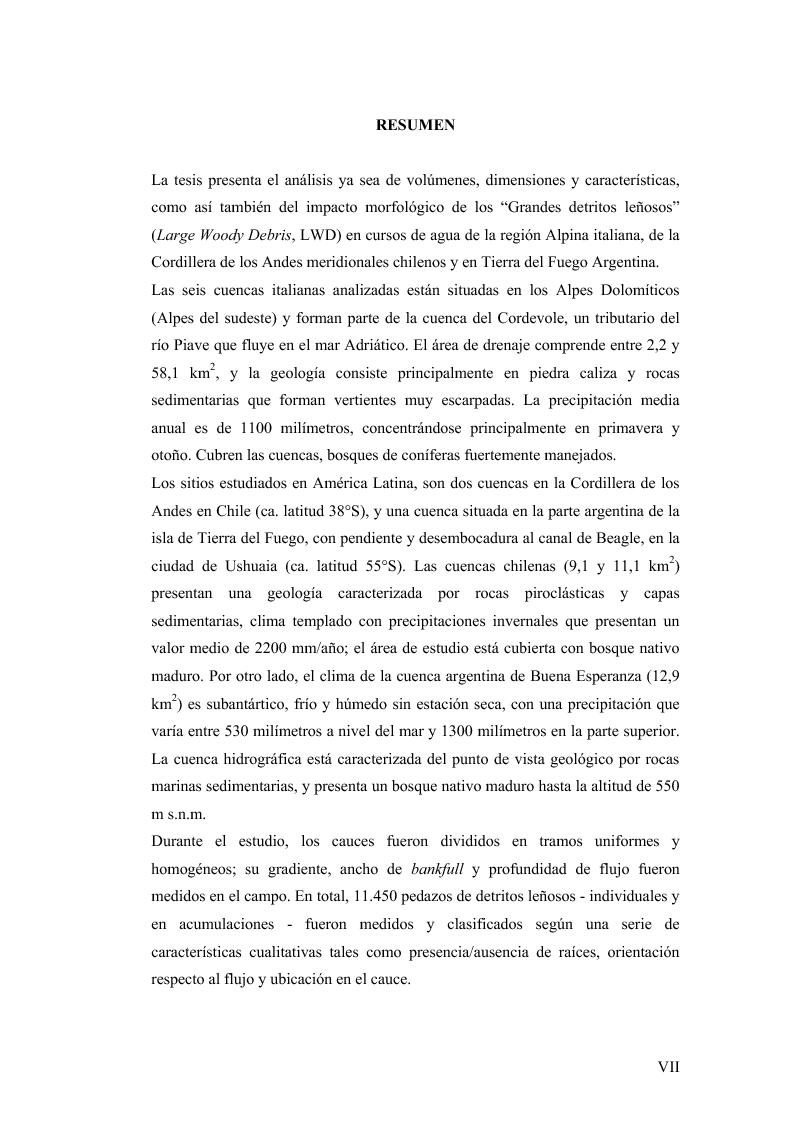 Anteprima della tesi: Volume and Characteristics of Woody Debris in Mountain Rivers of Italian Dolomites and Southern Andes, Pagina 3