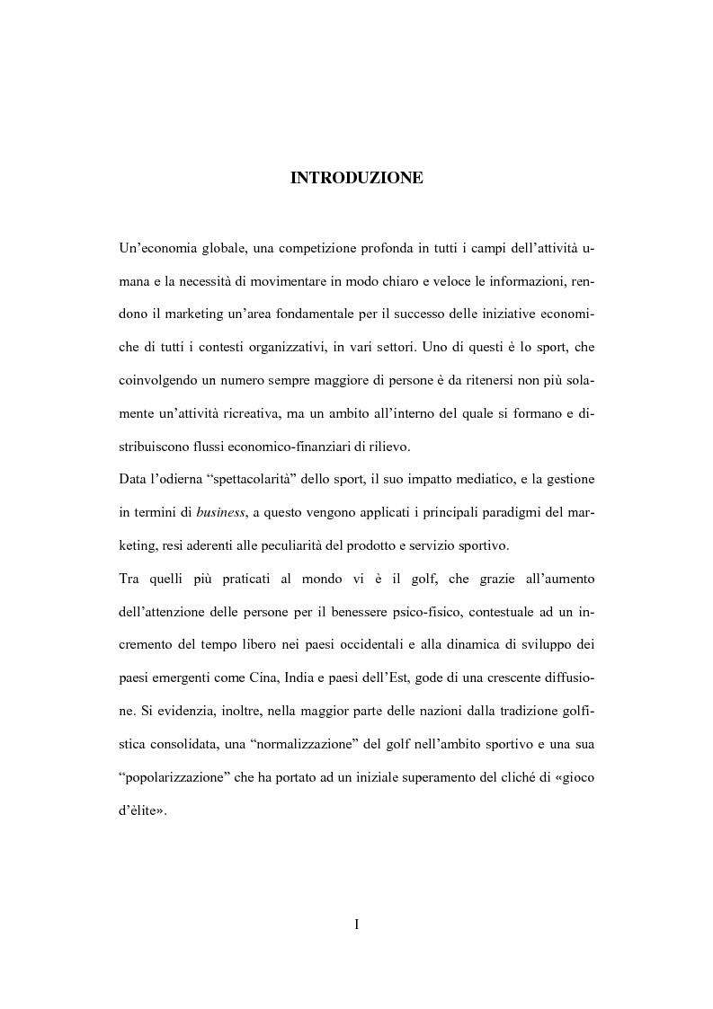 Anteprima della tesi: Il marketing dello sport: il caso del golf, Pagina 1