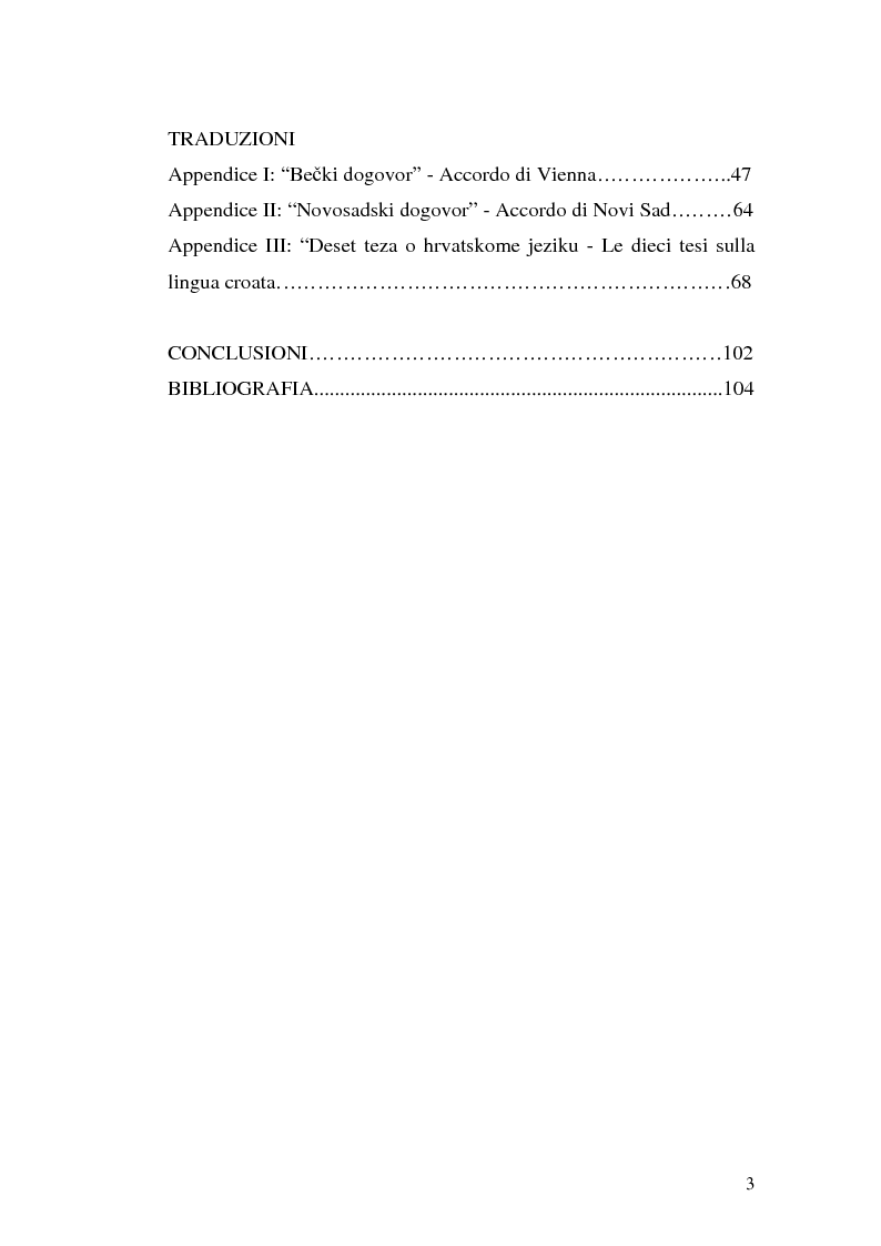Indice della tesi: Il processo di standardizzazione del croato, Pagina 2