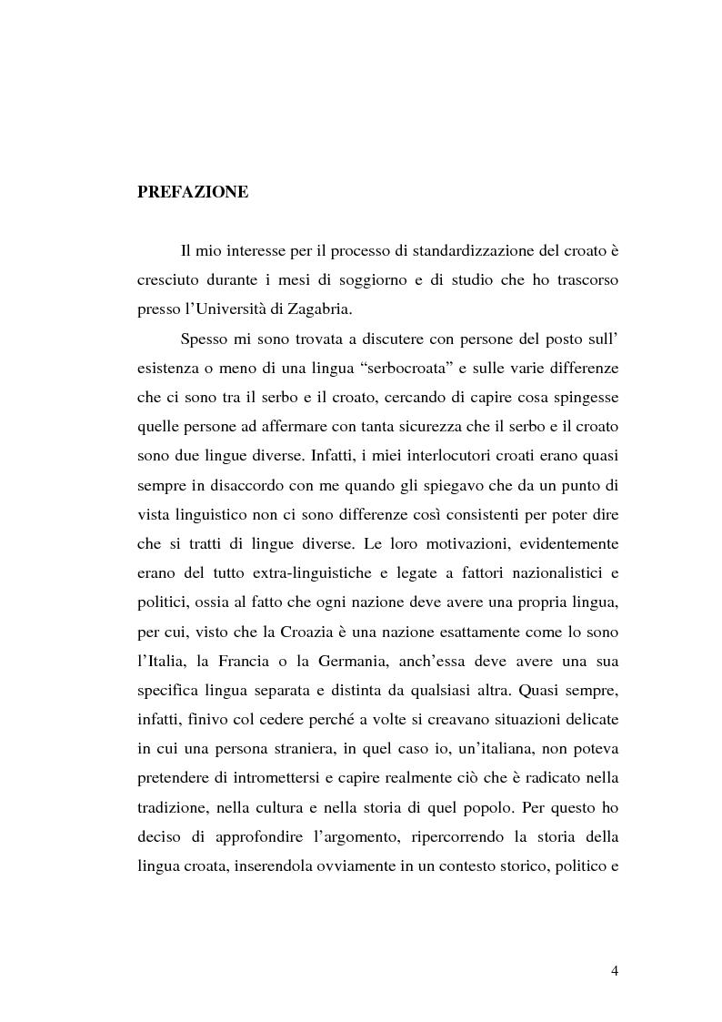 Anteprima della tesi: Il processo di standardizzazione del croato, Pagina 1