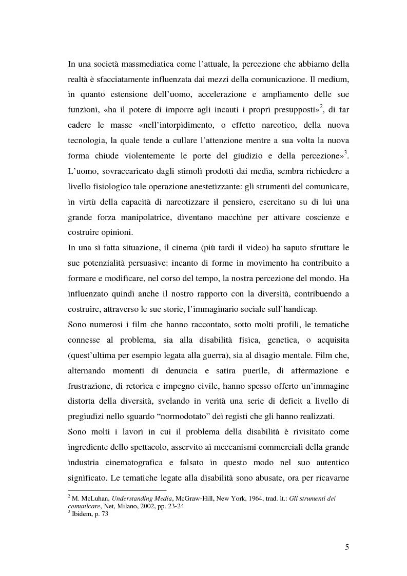 Anteprima della tesi: Oltre il dolore, oltre la pena. Cinema e handicap, quattro diversi sguardi d'autore, Pagina 2