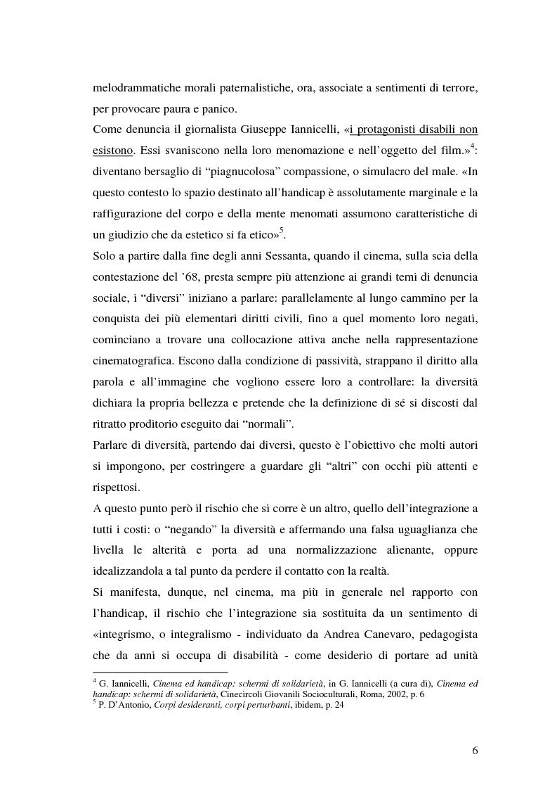 Anteprima della tesi: Oltre il dolore, oltre la pena. Cinema e handicap, quattro diversi sguardi d'autore, Pagina 3