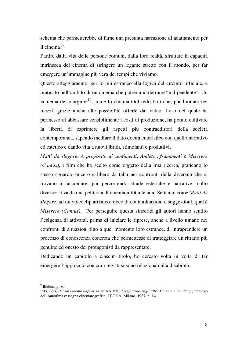 Anteprima della tesi: Oltre il dolore, oltre la pena. Cinema e handicap, quattro diversi sguardi d'autore, Pagina 5