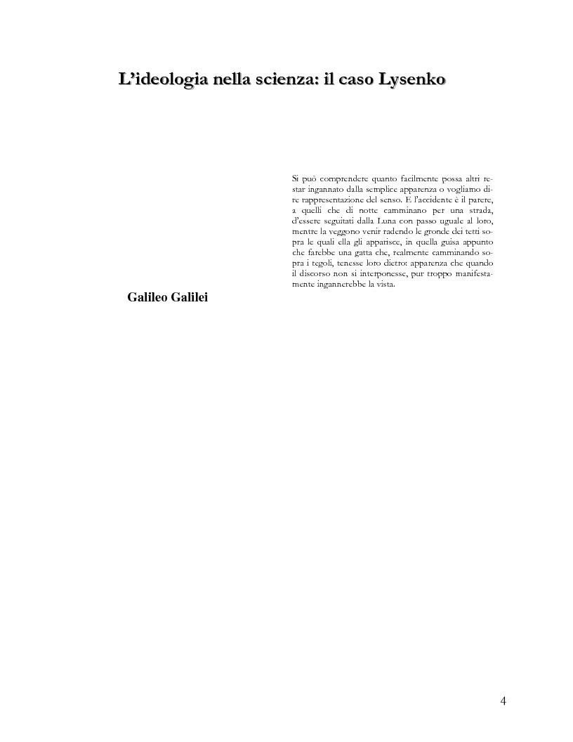 Anteprima della tesi: L'ideologia nella scienza: il caso Lysenko, Pagina 1