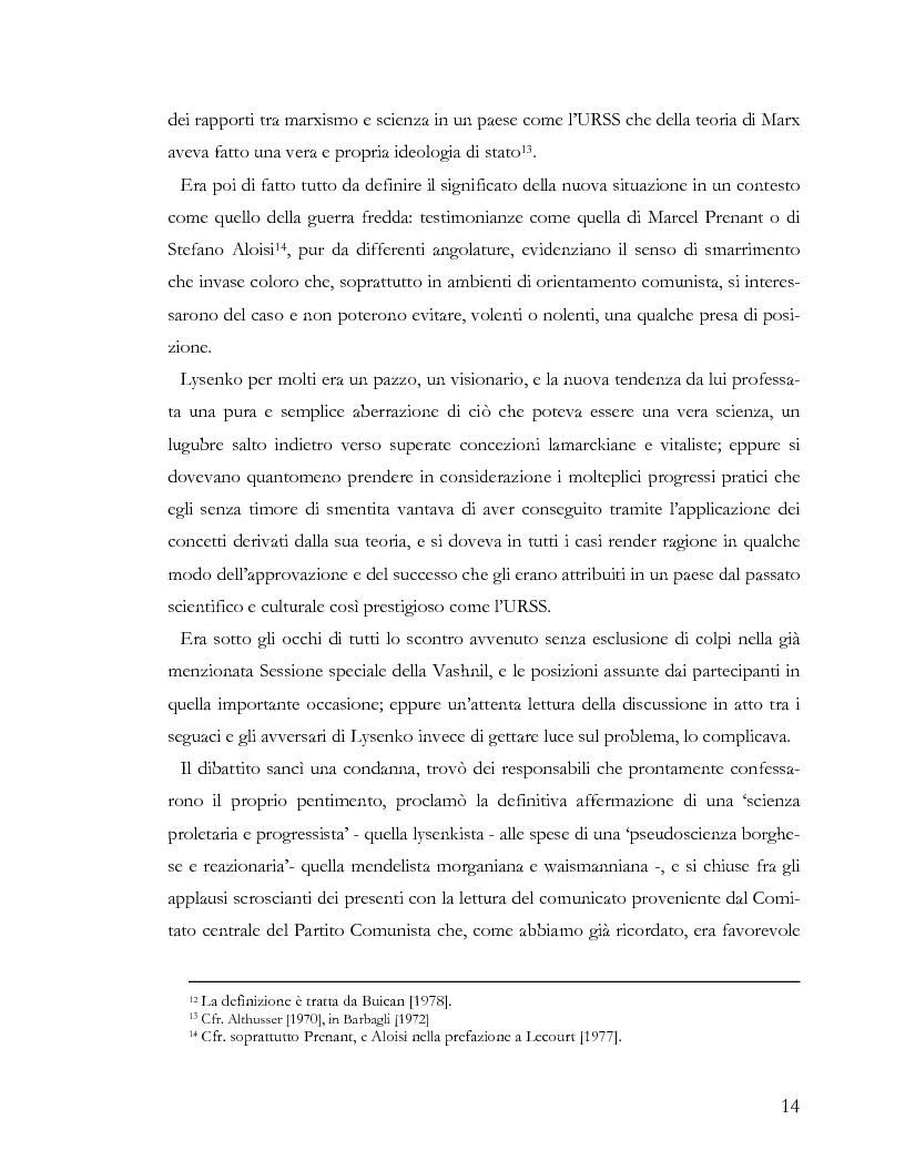 Anteprima della tesi: L'ideologia nella scienza: il caso Lysenko, Pagina 11