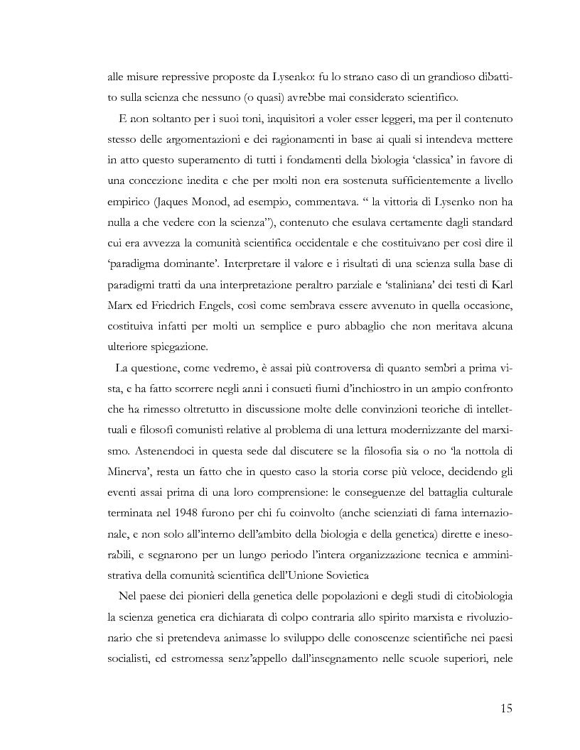 Anteprima della tesi: L'ideologia nella scienza: il caso Lysenko, Pagina 12