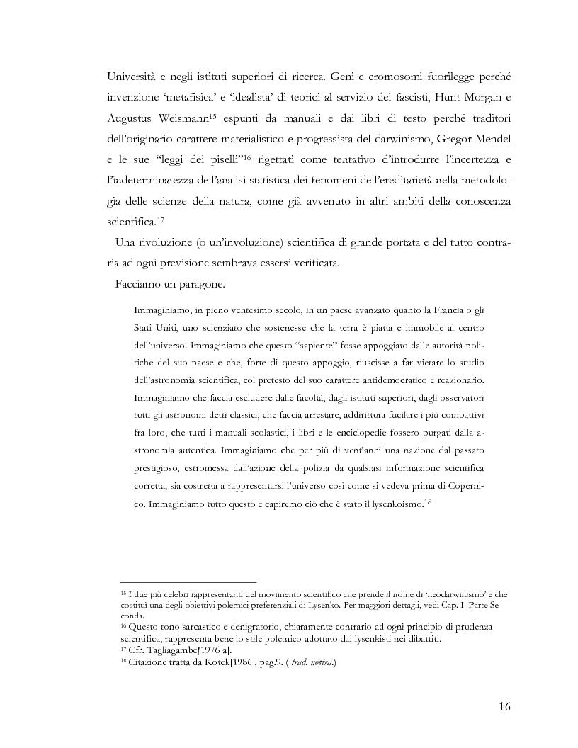 Anteprima della tesi: L'ideologia nella scienza: il caso Lysenko, Pagina 13