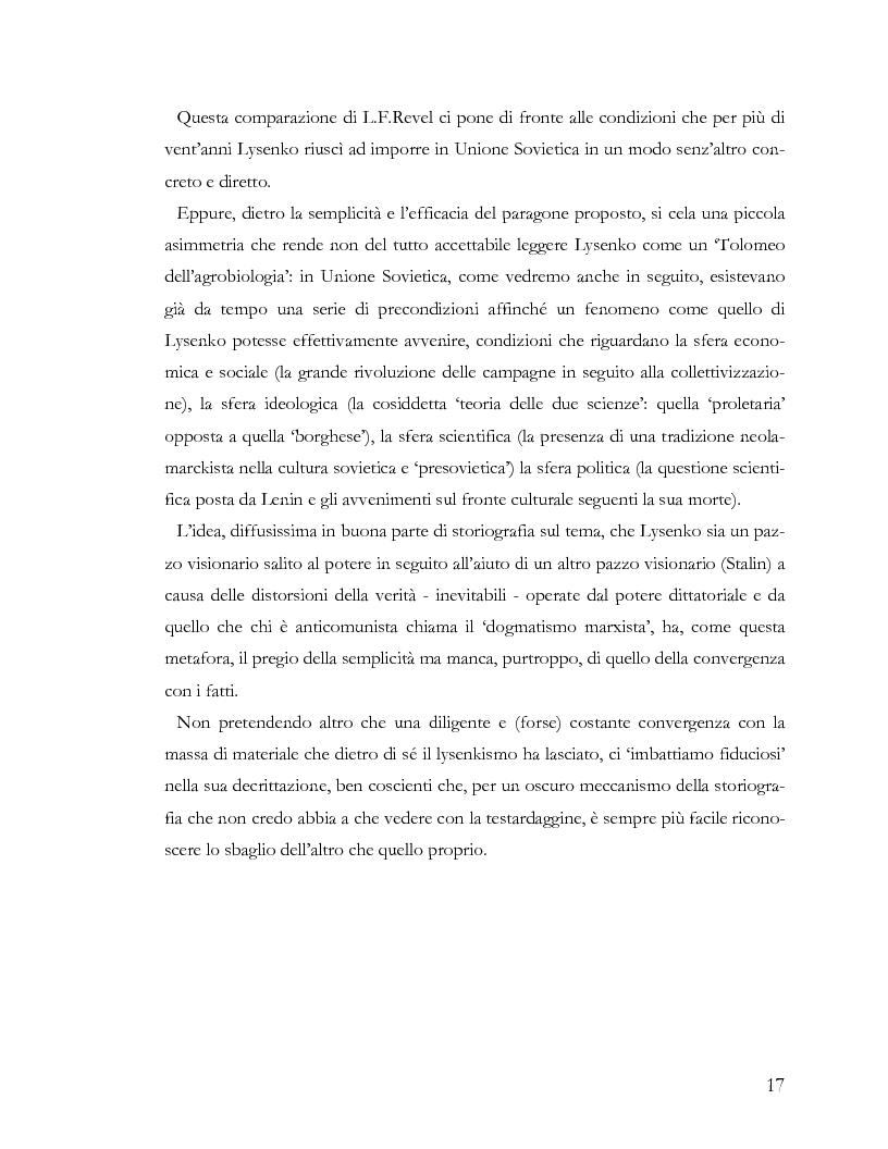 Anteprima della tesi: L'ideologia nella scienza: il caso Lysenko, Pagina 14