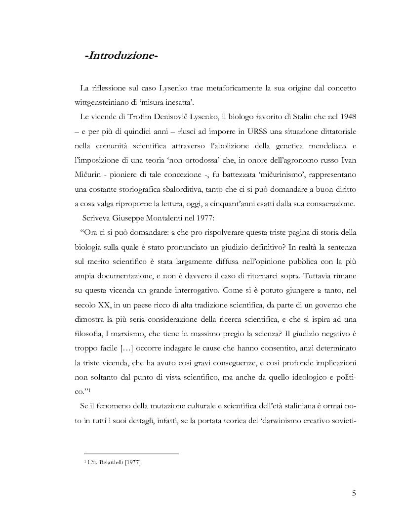 Anteprima della tesi: L'ideologia nella scienza: il caso Lysenko, Pagina 2