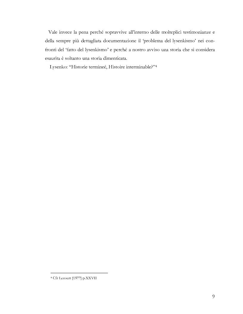 Anteprima della tesi: L'ideologia nella scienza: il caso Lysenko, Pagina 6