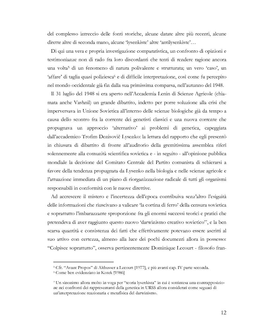 Anteprima della tesi: L'ideologia nella scienza: il caso Lysenko, Pagina 9