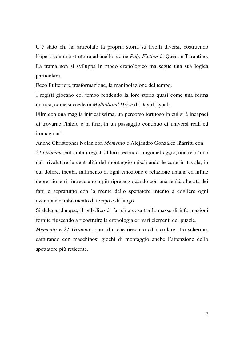 Anteprima della tesi: Montaggio e narrazione in Memento di Christopher Nolan e 21 Grammi di Alejando Gonzàlez Inarritu, Pagina 3