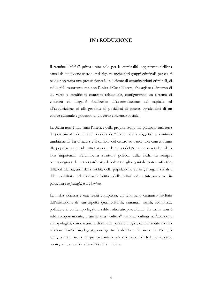 Anteprima della tesi: La condotta mafiosa in un contesto criminale, Pagina 1