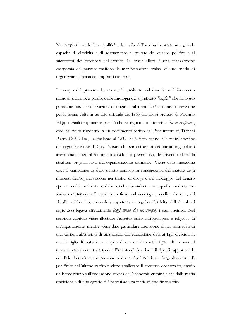 Anteprima della tesi: La condotta mafiosa in un contesto criminale, Pagina 2
