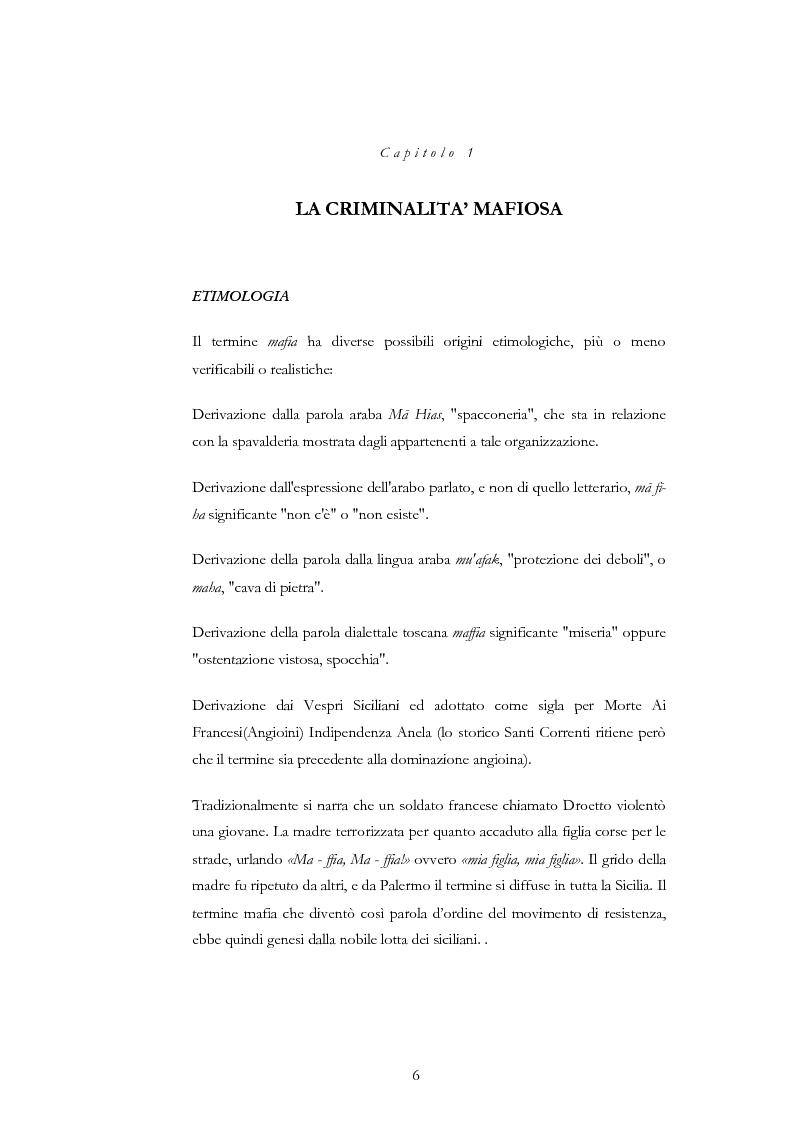 Anteprima della tesi: La condotta mafiosa in un contesto criminale, Pagina 4