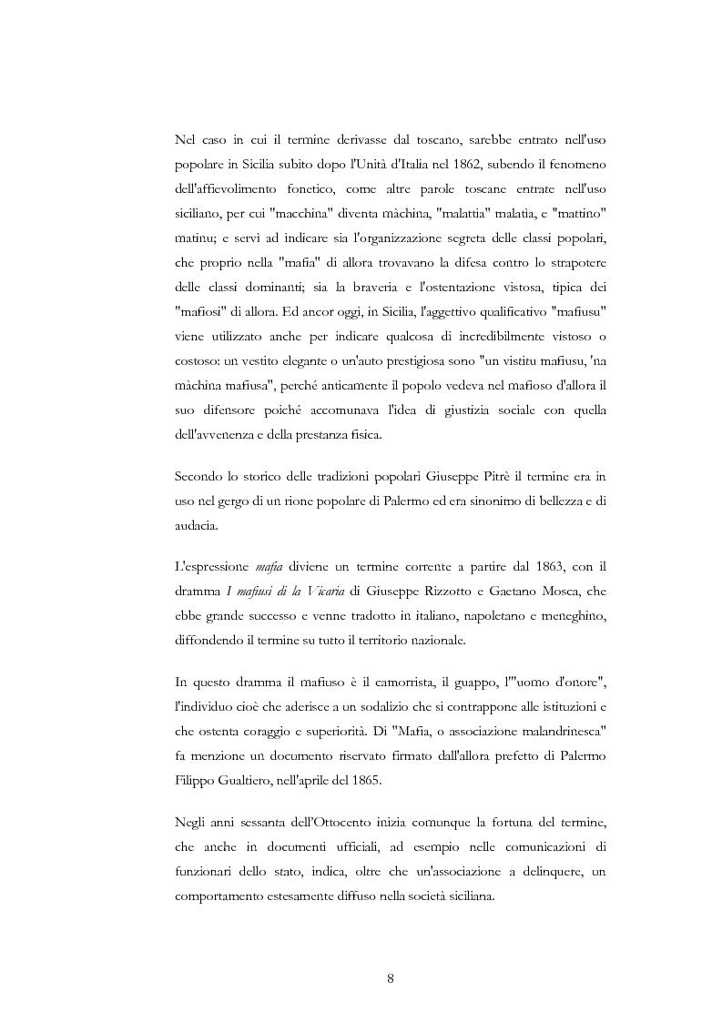 Anteprima della tesi: La condotta mafiosa in un contesto criminale, Pagina 5