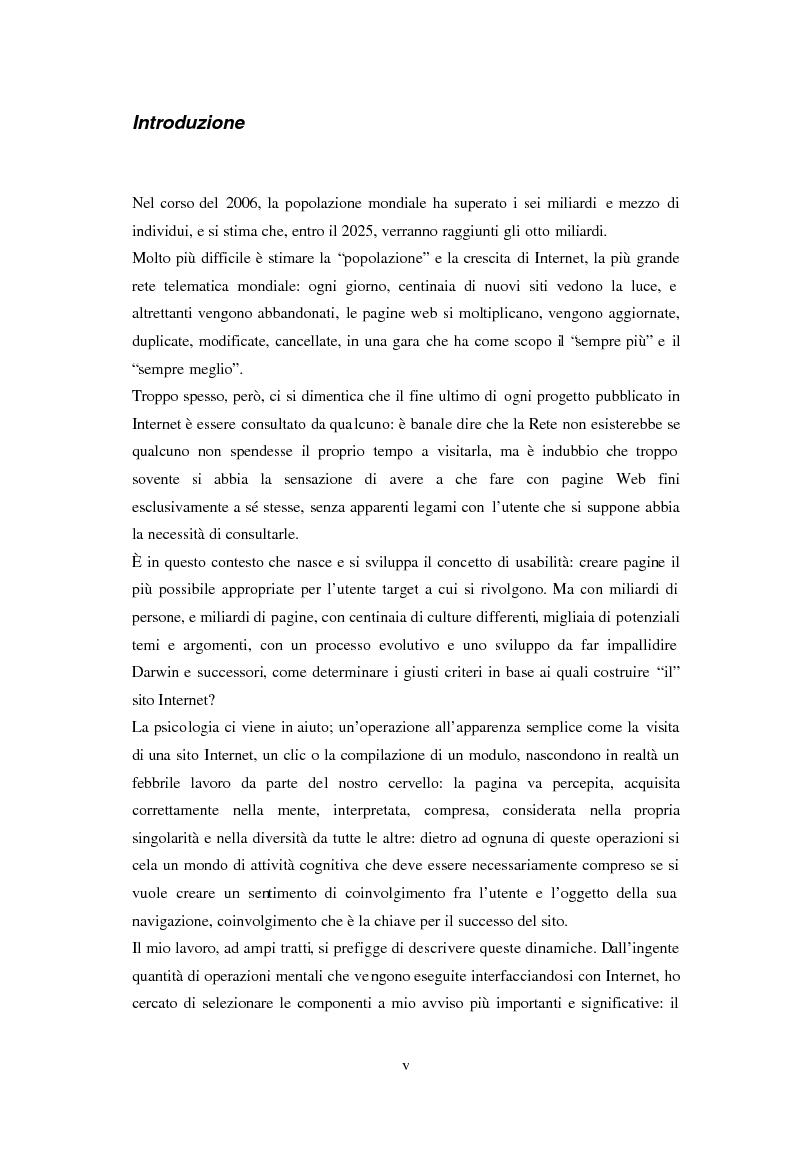Anteprima della tesi: L'usabilità in Internet e i processi psicologici correlati, Pagina 1
