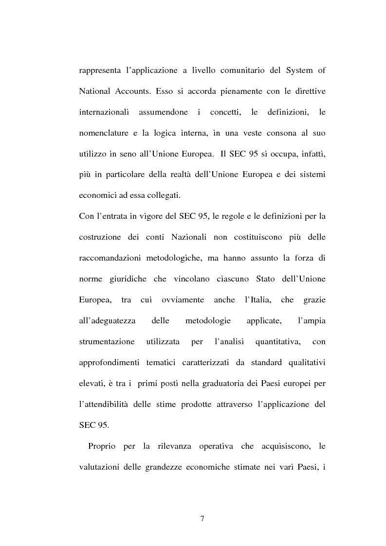 Anteprima della tesi: Il sistema dei conti nazionali ed il conto satellite della spesa per la protezione dell'ambiente EPEA, Pagina 5