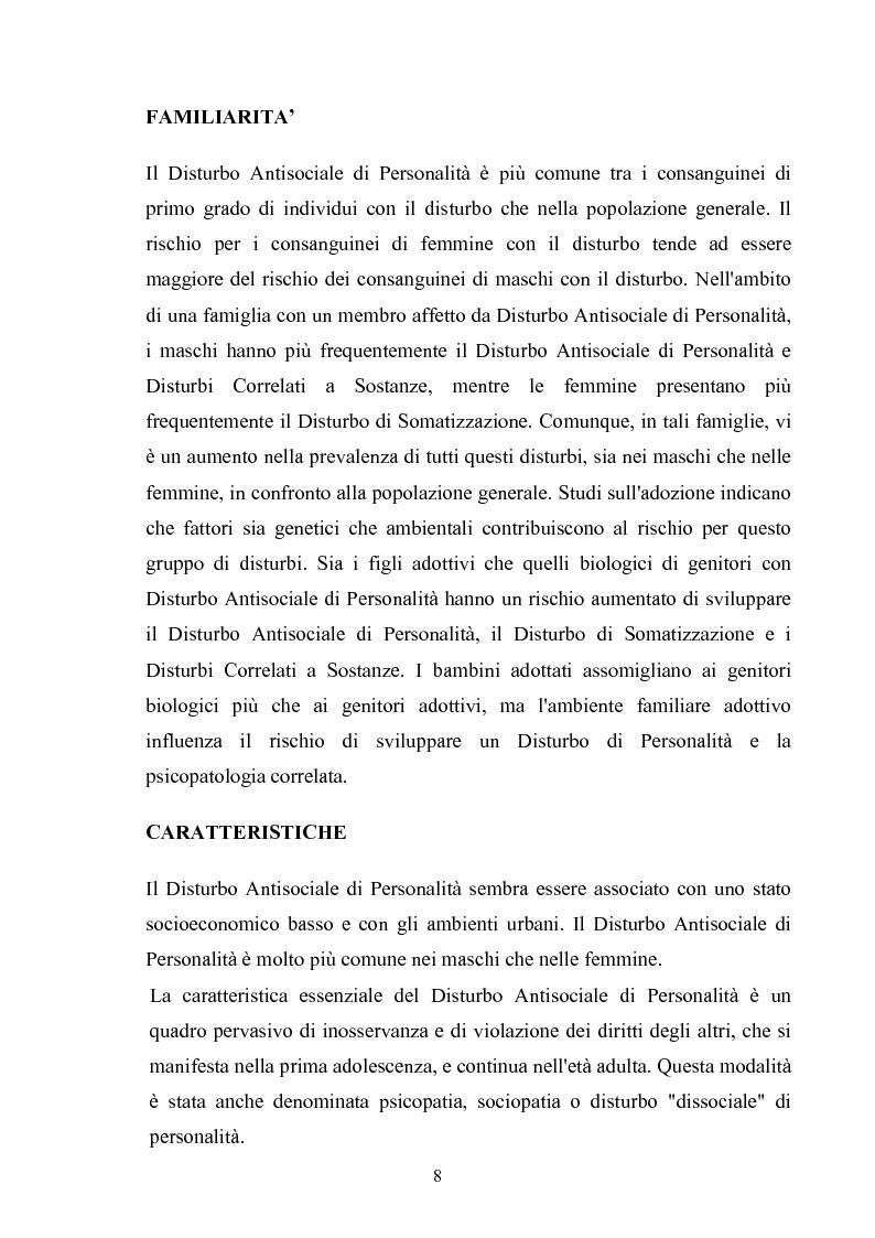 Anteprima della tesi: Disturbo Antisociale di Personalità: tra detenzione e tentativi di cura, Pagina 5