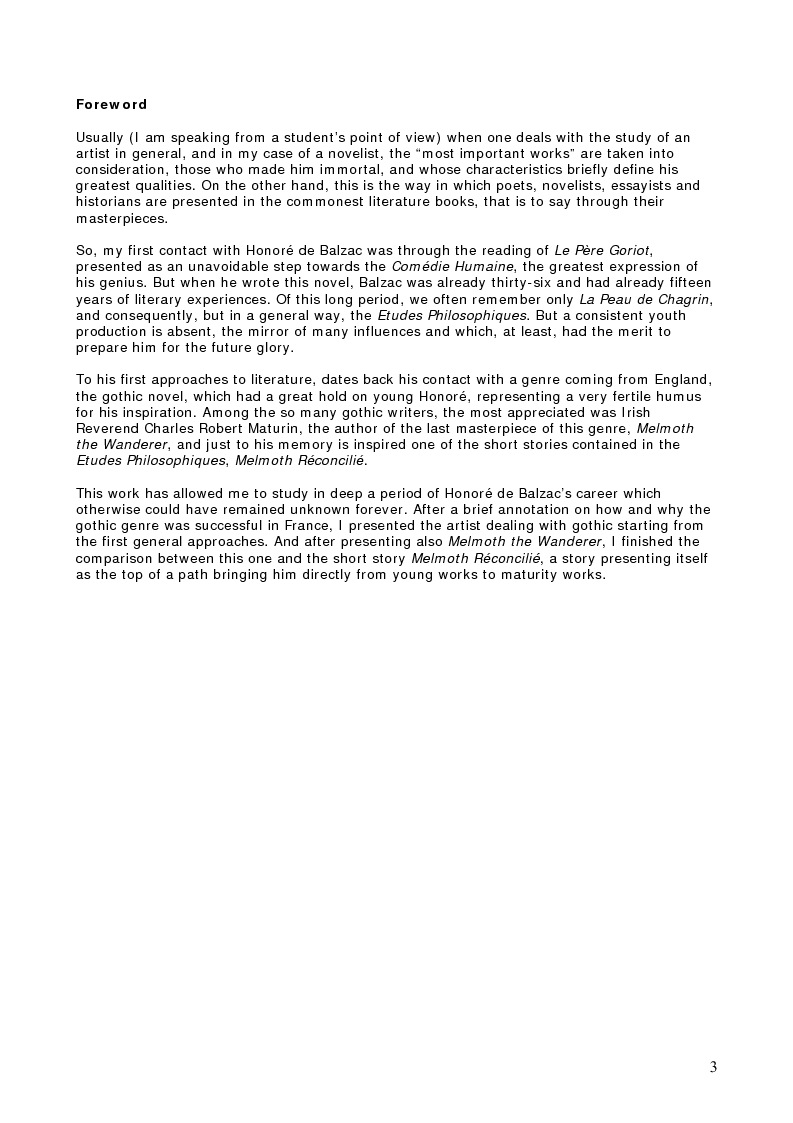 Anteprima della tesi: Charles Robert Maturin's Melmoth The Wanderer and Honoré De Balzac's Melmoth Réconcilié, Pagina 1