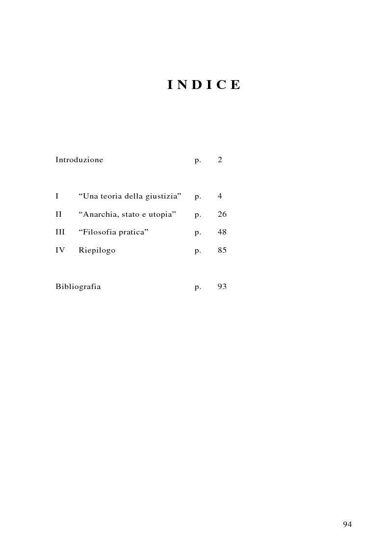 Indice della tesi: Può darsi un diritto di sopravvivenza? Giustizia e giusnaturalismo in alcune proposte di etica politica contemporanea: John Rawls, Robert Nozick, Giuliano Pontara, Pagina 1