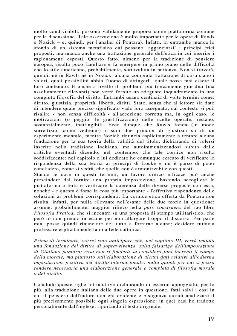 Anteprima della tesi: Può darsi un diritto di sopravvivenza? Giustizia e giusnaturalismo in alcune proposte di etica politica contemporanea: John Rawls, Robert Nozick, Giuliano Pontara, Pagina 4