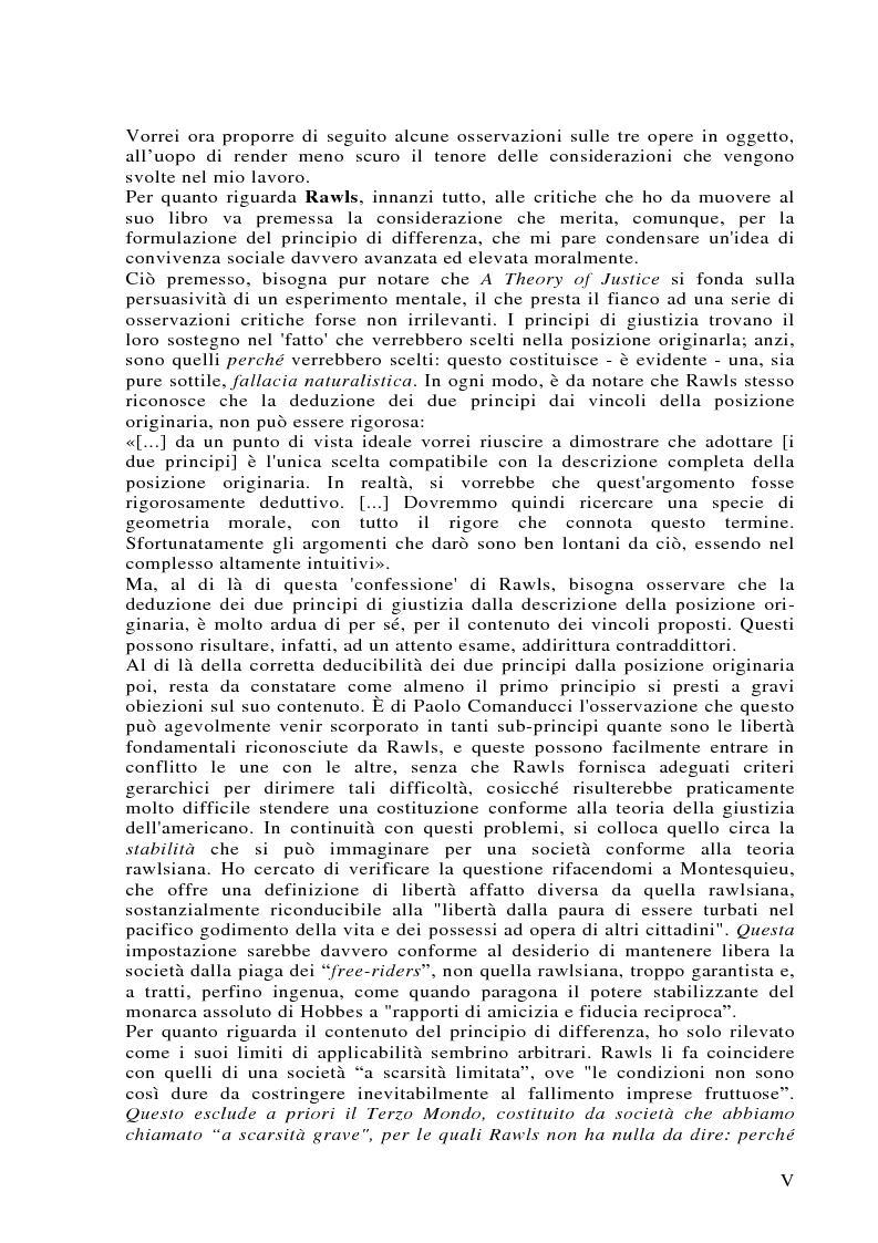 Anteprima della tesi: Può darsi un diritto di sopravvivenza? Giustizia e giusnaturalismo in alcune proposte di etica politica contemporanea: John Rawls, Robert Nozick, Giuliano Pontara, Pagina 5