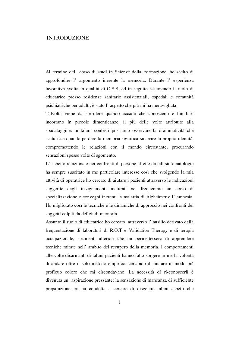 Anteprima della tesi: Memoria: un'indagine conoscitiva, Pagina 1