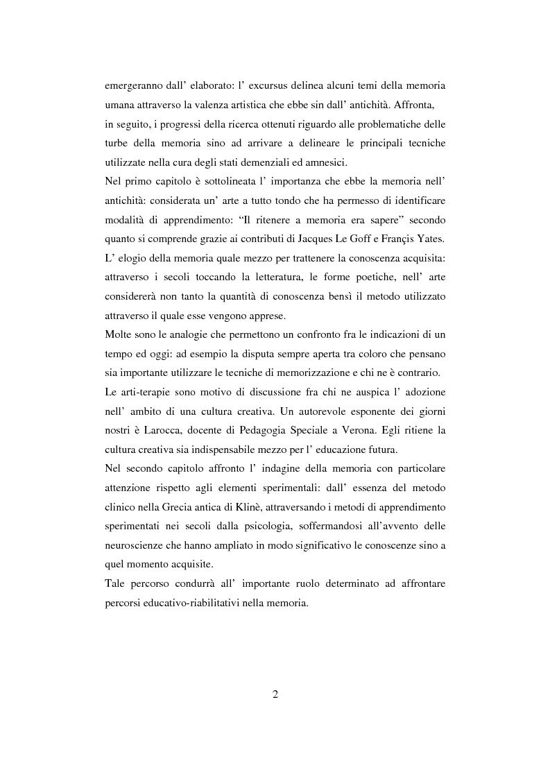 Anteprima della tesi: Memoria: un'indagine conoscitiva, Pagina 2