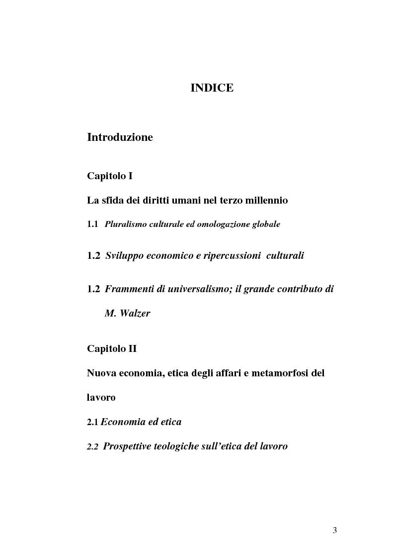 Indice della tesi: Diritti umani e multiculturalità nel villaggio globale, Pagina 1