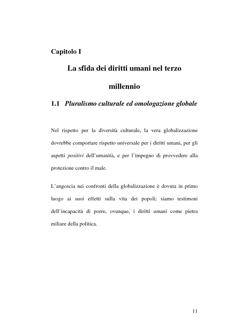 Anteprima della tesi: Diritti umani e multiculturalità nel villaggio globale, Pagina 5