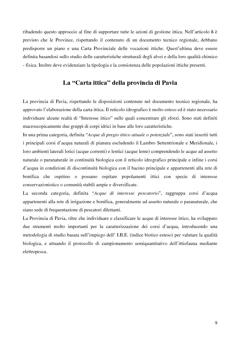 Anteprima della tesi: Ecologia delle comunità ittiche planiziali della provincia di Pavia, Pagina 7