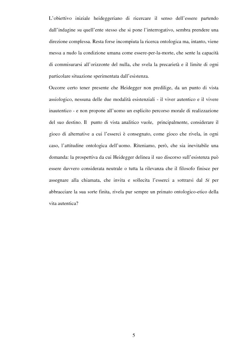 Anteprima della tesi: Esistenza, possibilità, vita inautentica in Essere e tempo, Pagina 3