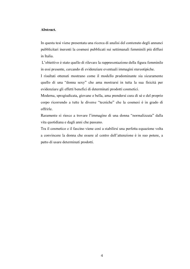 Anteprima della tesi: La rappresentazione della donna nella pubblicità dei cosmetici. Una ricerca di analisi del contenuto., Pagina 1