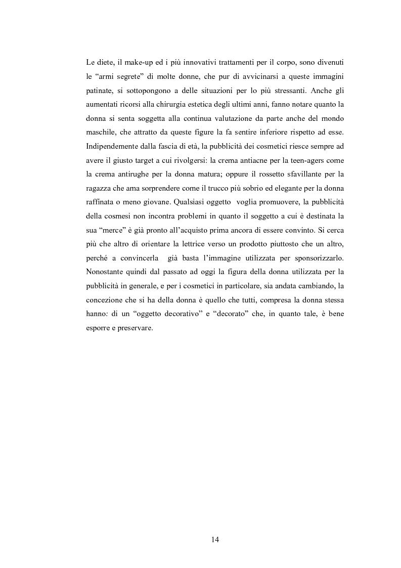 Anteprima della tesi: La rappresentazione della donna nella pubblicità dei cosmetici. Una ricerca di analisi del contenuto., Pagina 11