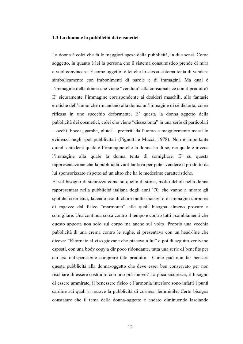 Anteprima della tesi: La rappresentazione della donna nella pubblicità dei cosmetici. Una ricerca di analisi del contenuto., Pagina 9