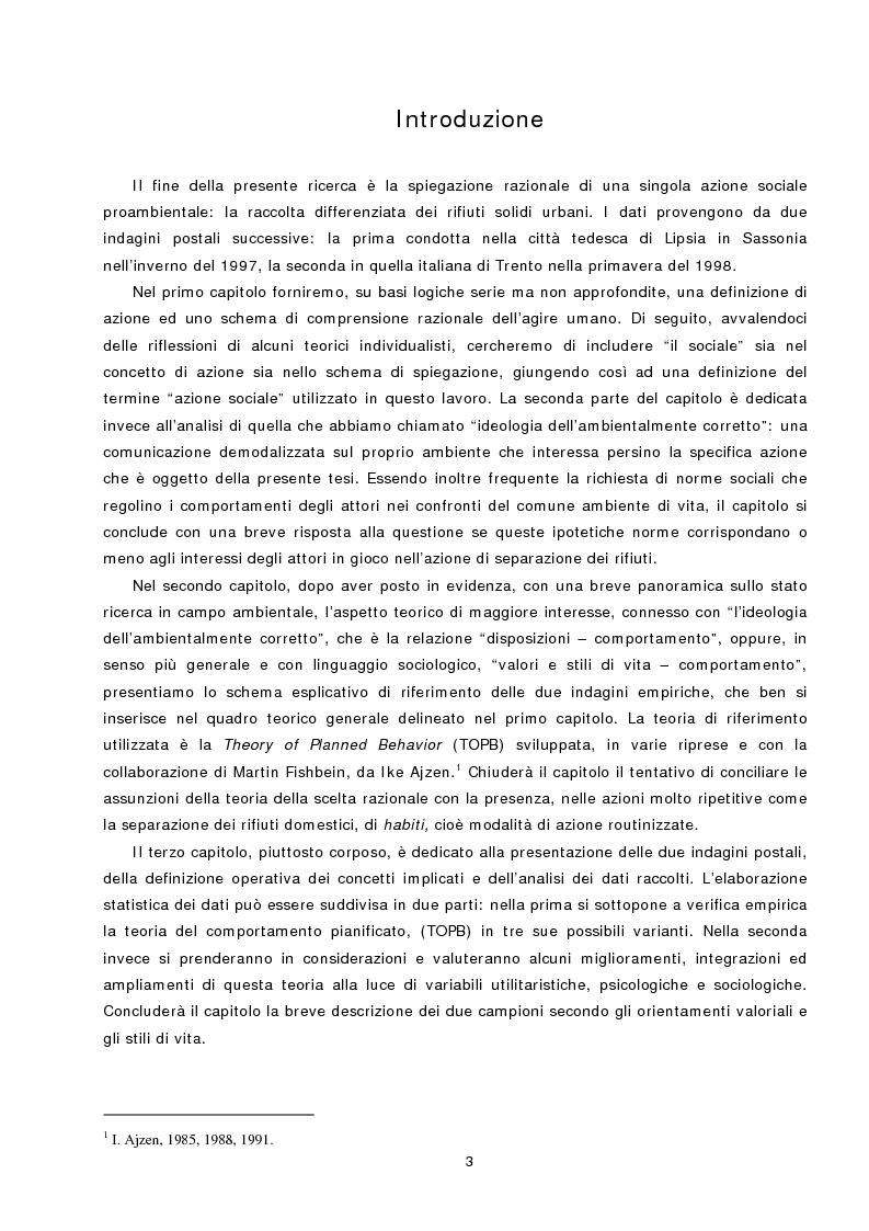 Anteprima della tesi: L'azione sociale ambientalmente corretta: il caso della separazione dei rifiuti a Lipsia ed a Trento, Pagina 1
