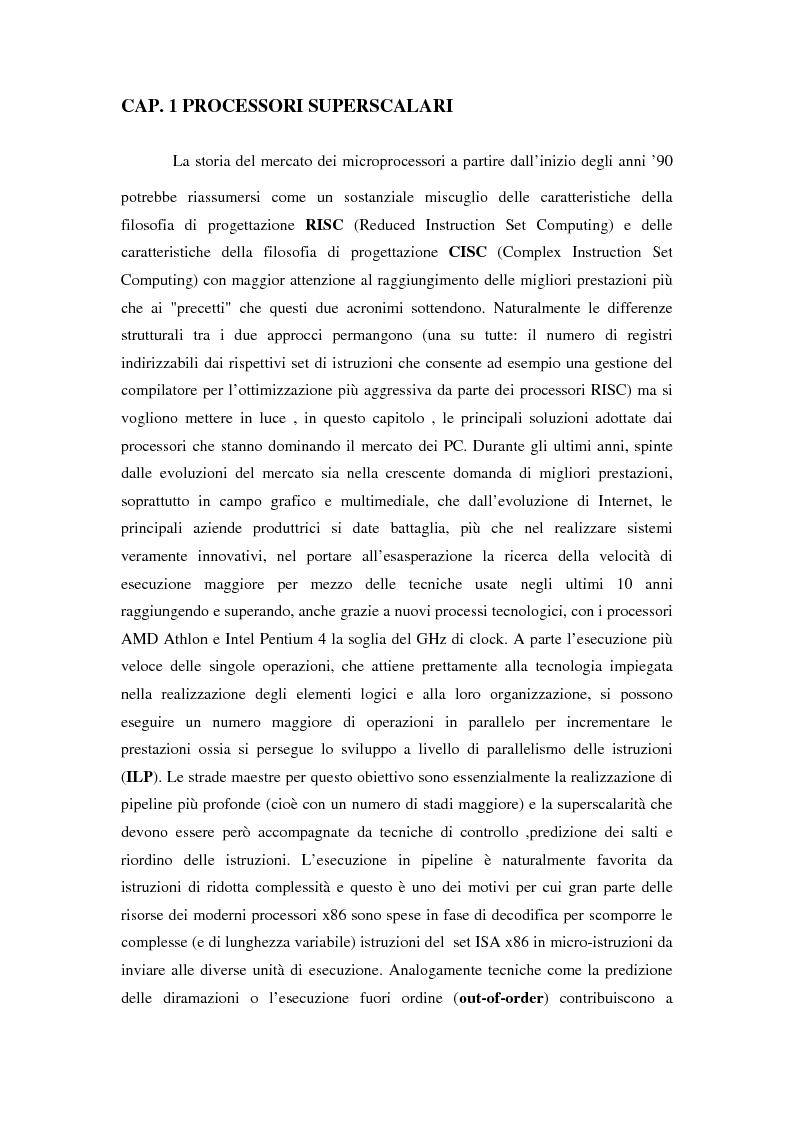 Anteprima della tesi: Analisi delle architetture di microprocessori commerciali, Pagina 2