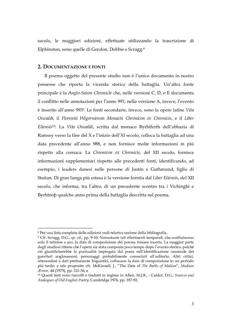 Anteprima della tesi: The Battle of Maldon: un'indagine retorica, Pagina 3